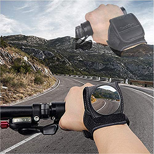 SAKUUMI Bike Wrist Mirror, Wide Angle Bicycle Rear View Mirror Adjustable Wristband Arm Wear Safe Rearview Convex Mirror for Mountain Road Kid's Bikes Motorbike Riding Safety Gear Cycling Accessories