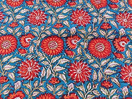 Floral Print Block Print Fabric 100/% Cotton Indian Fabric Hand Printed Soft Cotton Woman Dress Fabric By Yard # 14