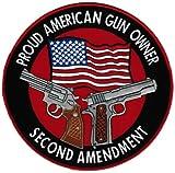 Proud American Gun Owner Second Amendment Embroidered Patch Large 1911 Handgun