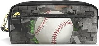 ALAZA Baseball Crack Pencil Case Zipper PU Leather Pen Bag Cosmetic Makeup Bag Pen Stationery Pouch Bag Large Capacity