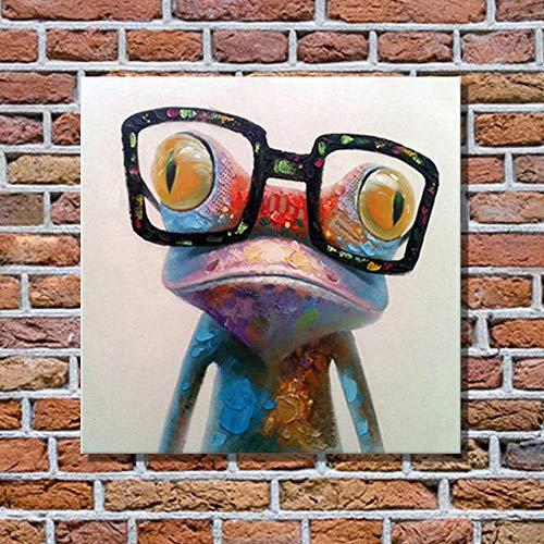 Kleurrijke kikker met grote bril Grappig Modern Abstract Dier Pop-art Schilderijen Muurdecoratie Kinderkamer Decor Straatkunst Graffiti / 50x50cm Zonder lijst
