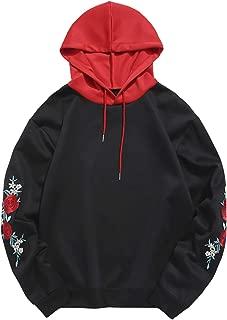 Men Embroidery Hoodie Stitching Drawstring Pullover Sweatshirt