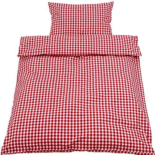 Hans-Textil-Shop Kinderbettwäsche 100x135 40x60 cm Karo 1x1 cm Rot