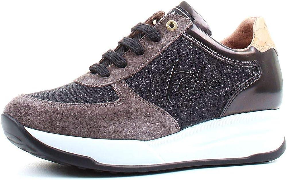 Alviero martini, scarpe sneakers classica da donna,  con logo e ricamo in lurex carbone, numero 36 EU 0428 0218
