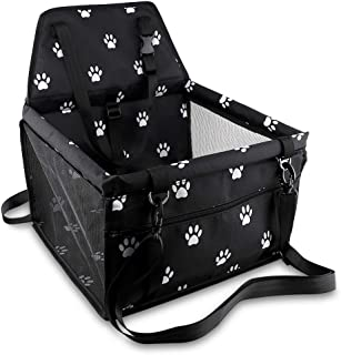 Petbobi Pet Reinforce Car Booster Seat for Dog Cat Portable and Breathable Bag with Seat Belt Dog Carrier Safety Stable for Travel with Clip on Leash and Storage Package