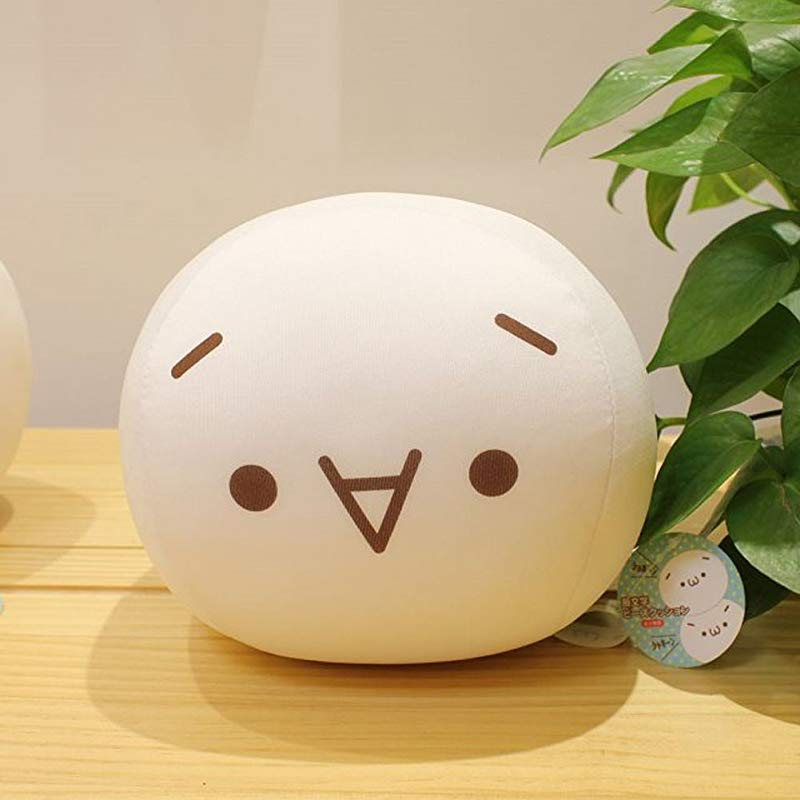 ChezMax Cute Spandex Decorative Throw Pillow For Home Office Sofa Stuffed Toys Back Cushion Creative White Kaomoji Doll For Kids Shy 7 9