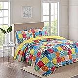 GLXLSBZ Tagesdecke Patchwork Baumwolle Tagesdecke Tagesdecke gesteppt 240 x 260 cm 3-teilig für Doppelbettsofa im gelb-grünen geometrischen Marokko-Stil