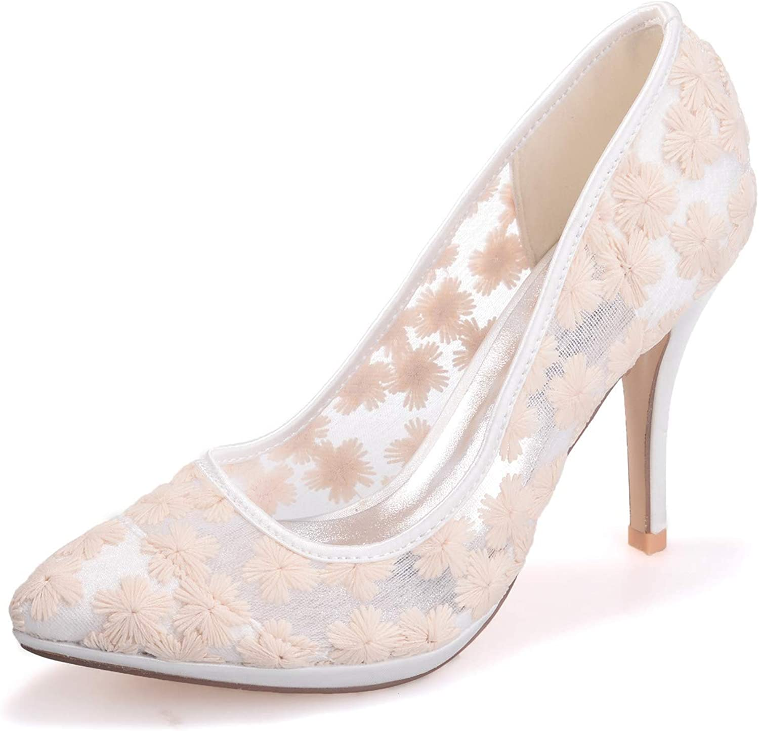 LLBubble Women High Heels Pointed Toe Lace Wedding Party shoes Slip-on Prom Evening Formal Party Dress Pumps 0255-31