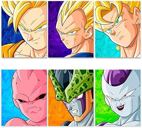Dragon Ball Z Poster Set Super Vegeta and Goku Posters Gifts Saiyan DBZ Poster Gohan Majin Buu product image