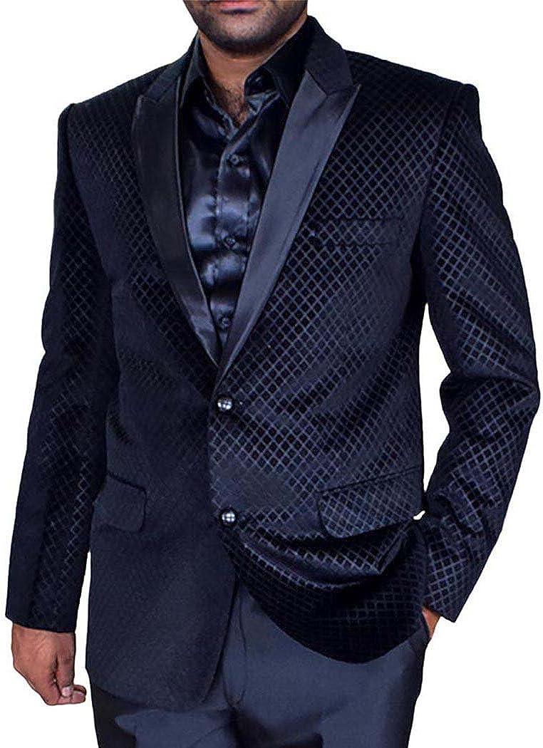 INMONARCH Mens Slim fit Black Dinner Blazer Sport Jacket Coat VB27XL50 50 X-Long Black