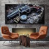 oioiu Película revólver Arma Retro Reloj de Bolsillo Artista de Pared decoración del hogar Lienzo Imagen HD Imprimir Cool Boy Teen Dormitorio Cartel Mural Regalo