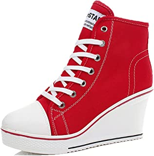 Women High Heel Sneaker Canvas Lace Up High Top Casual Wedge Side Zipper Fashion Sneakers Pump Platform Walking Shoes (7.5, Red)