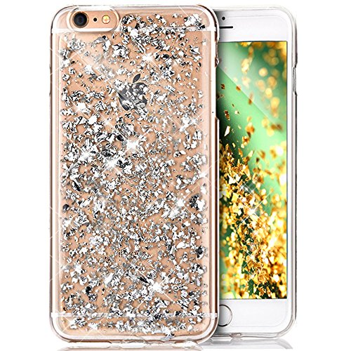 Coque iPhone 8,Coque iPhone 7,Cover iPhone 7,Shiny Sparkly Glitter Paillettes brillantes crystal bling Clear Transparent Silicone Gel TPU Case Coque Housse Etui pour iPhone 8/7,Argent Feuille d'or