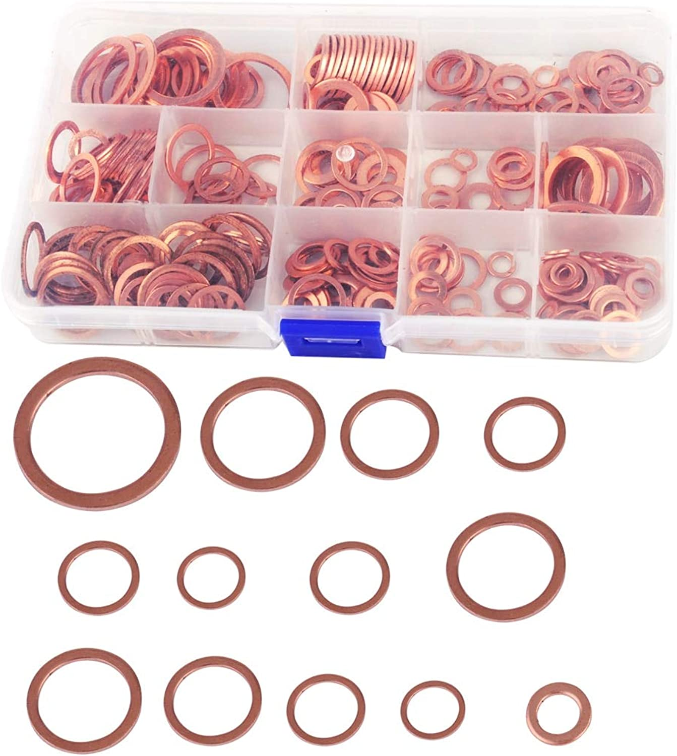 SalaBoxAccessories  280x Assorted Engine Box Washers Solid Red Copper Sump Plug Washer Seal Flat Ring Set + Box for VW Audi BMW Honda Kia Ford