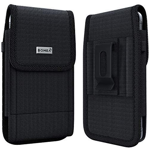 Bomea Galaxy S10 Plus holster Galaxy S9 Plus Belt Holder Case with Belt Clip Belt Loop Rugged Nylon Cell Phone Pouch Case for Samsung Galaxy S10+ Plus/S9+ Plus/S8+ Plus (Fits Phone with Case on) Black