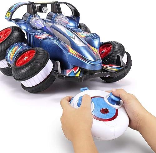 IBalody Kreative 360   RC Taumeln Stunt Auto Lade Gel ewagen Drahtlose Fernbedienung fürzeug Junge Spielzeug Auto Modell P gogische Geschenke für Kinder 6+ (Farbe   Blau, Größe   2-Battery)