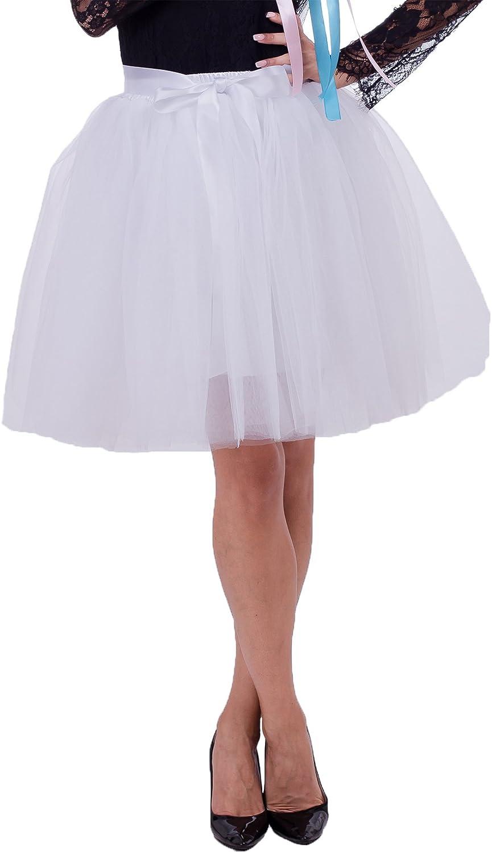 honey qiao Women's High Waist Tulle Skirt Dance A-line Pleated Tutu Elastic Knee Length Skirt Wedding Ball Party Grows