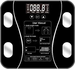 体重計、脂肪、筋肉、BMI、骨量、カロリー、ブラック用バックライト付きLCD付き体重計、デジタル体重計、体組成計,A