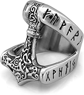 ENXICO Runic Thor's Hammer Mjolnir Ring ♦ 316L Stainless Steel ♦ Norse Scandinavian Viking Jewelry