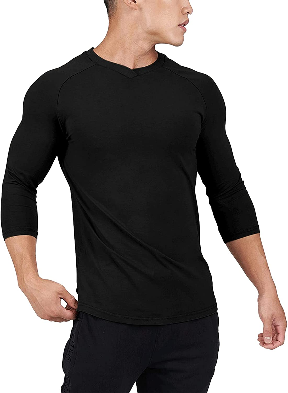 Lexiart Mens Fashion Raglan Shirt Athletic Long Sleeve Undershirts Solid Color Slim Fit Tee