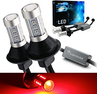 Syneticusa 7443 Error Free Canbus Ready Red LED Brake Parking Tail Stop Turn Signal Light Bulbs DRL Parking Lamp No Hyper ...