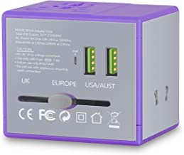 Worldwide Travel Adapter, HSYPC LX Worldwide All in One Travel Plug Adapter, 2400MA Dual USB Output, 6A Fuse Perfect for US/EU/UK/AUS, 220+ Countries, High Power Universal Travel Adapter. (purple)