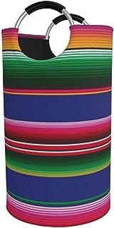 N\A 82l Grand Panier à Linge, Couverture Mexicaine colorée Rayures Panier à Linge Pliable en Tissu, Sac à vêtements Pliabl...