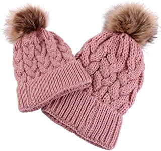 Baoblaze 2Pcs Mummy and Me Parent-child Beanie Winter Hat Knit Warm Snow Skull Cap