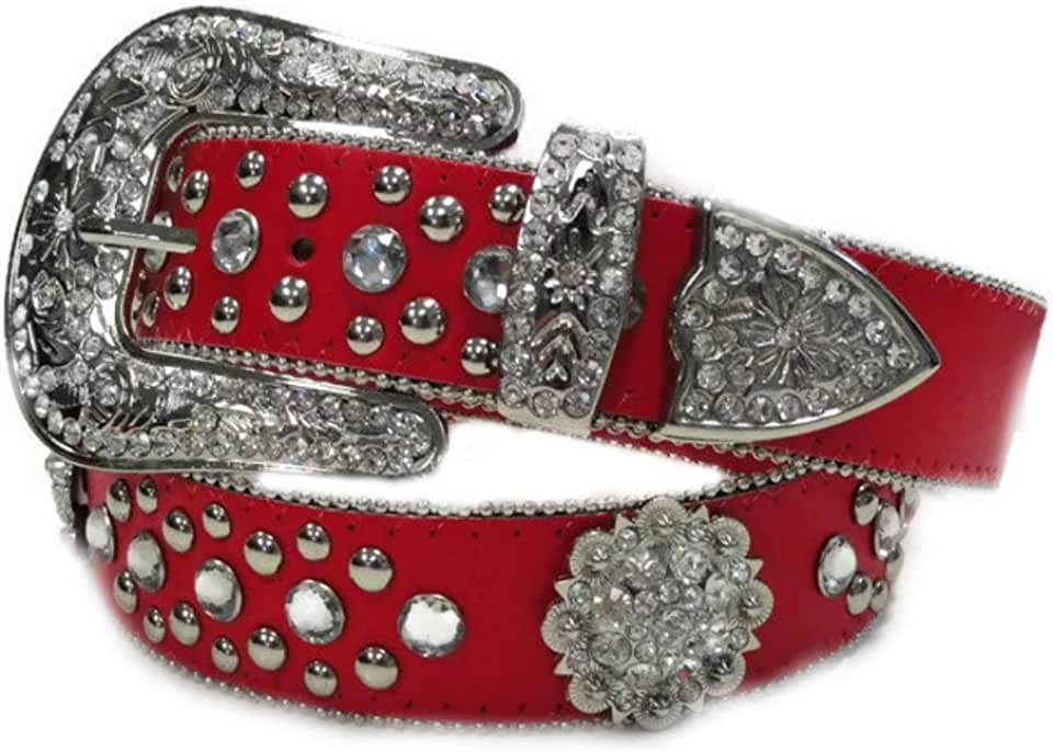 Deal Fashionista BERRY Red Western Rhinestone Bling Studded Buckle Belt