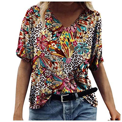 Camiseta de verano para mujer, cuello en V, holgada, manga corta, estilo vintage, 3D, talla grande, informal, color vino, 3XL