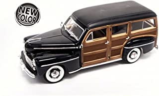Road Signature 1948 Ford Woody, Black w/ Wood Panel - Lucky 20028 - 1/18 Scale Diecast Model Toy Car