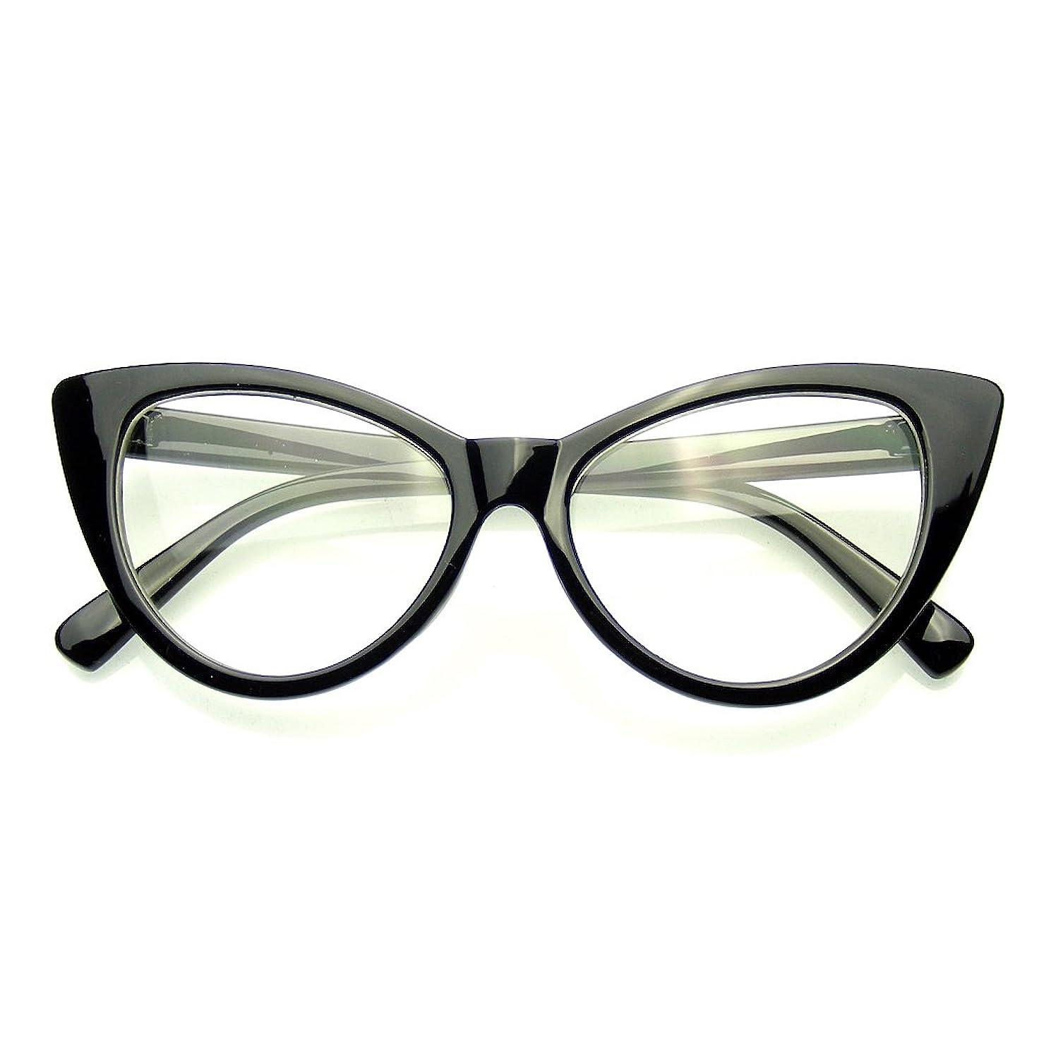抑制する放射性キャンペーンEmblem Eyewear - Super Cat Eye GlassesヴィンテージファッションModクリアレンズアイウェア