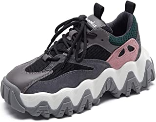 Running Shoes Multicolor Stitched Off-Road Shoes Fashion Ladies Sneakers Wave Bottom Running Shoes (Color : Pink, Size : 5)