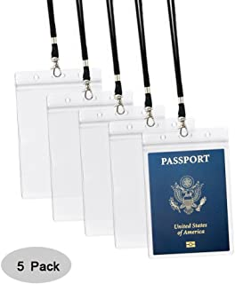 4x6Inch Extra Large Passport Holders ID Badge PVC Card Holder with Lanyards Fill for Passports (5Pcs Black Lanyards)