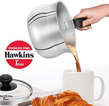 Hawkins Stainless Steel Induction Compatible TPan (Saucepan) with Glass Lid, Capacity 1.5 Litre, Thickness 4.7 mm, Silver (SS