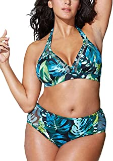 Rawdah-- Donne Taglie Forti Retro Vita Alta Due Pezzi Bikini Spiaggia Costumi da Bagno Coordinati,Capestro Bendare Foglie di Fiori Stampa Bikini Costume da Bagno Mare Spiaggia Estate
