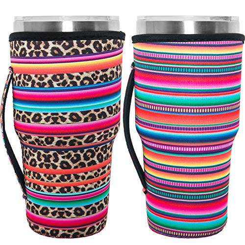 HaiMay 2 Pieces Reusable Iced Coffee Cup Sleeve Neoprene Insulated Sleeves Cup Cover Holder Ideal for 30oz-32oz Tumbler Cup,Trenta Starbucks,Large Dunkin Donuts, Sunflower&Cuctus Style