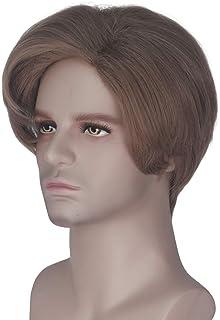 Miss U Hair Mens Short Brown Wave Hair Party Cosplay Wig Halloween Daily Wear