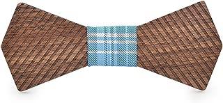 XIANGHENGDA 2019 3D Wooden Fashion Men's Women's Wooden Bow Tie Striped Wooden Christmas Gift Birthday Handkerchief Classic Handmade Tie (Color : Light blue, Size : 5 * 9.5cm)
