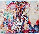 VORCOOL Tapiz de mandala indio, elefante, floral, para colgar en la pared, toalla de playa, esterilla de yoga, 150 x 130 cm