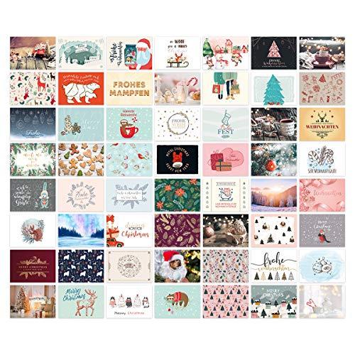 Weihnachtskarten Postkarten 56 Stück Set unterschiedliche Motive DIN A6 148x105mm - Motiv-Set 3
