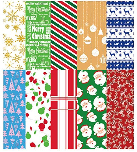 "202 PCS Holiday Tissue Paper Assortment Set for Wrapping and Decorations(Ten Colors), Christmas Holiday Printed Tissue Paper Assortment with Christmas Name Stickers(20"" x 20"" inches)"