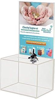 My Charity Boxes - Medium Acrylic Donation Box - Ballot Box - Ticket Box - Vote Box - Suggestion Box - Comments Box - Lock...