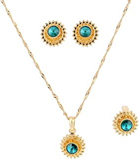 Flower Jewelry Set Ethiopian Gold Jewelry Sets Earrings Pendant Ring with Stone African Habesha Nigeria Jewelry