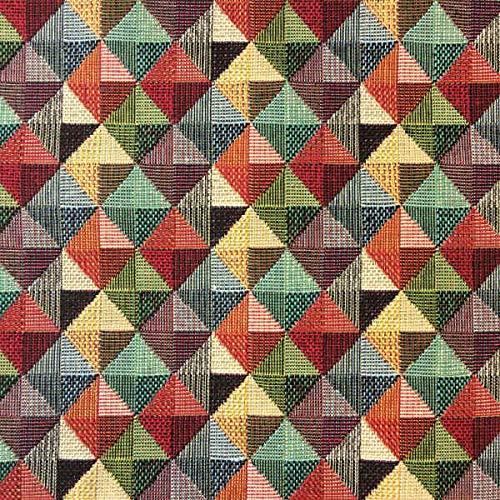 Tela por metros de tapicería - Jacquard Gobelino - Ancho 280 cm - Largo a elección de 50 en 50 cm | Triángulos - Rojo, verde, amarillo, gris, negro