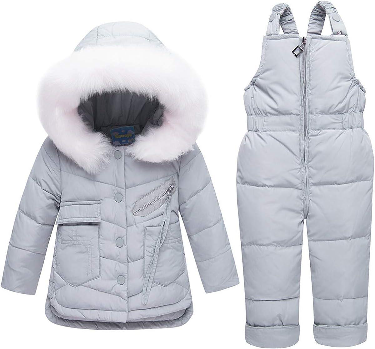 REWANGOING Baby Kids Girls Winter Warm Fur Trim Sweety Pocket Hooded Puffer Down Jacket Snowsuit with Ski Bib Pants Set