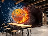 3D Flame Basketball 9 Wall Paper Wall Print Decal Wall Deco Indoor Wall Murals Removable Wall Mural   Self-Adhesive Large Wallpaper, AJ WALLPAPER Carly (39'x39'(WxH))