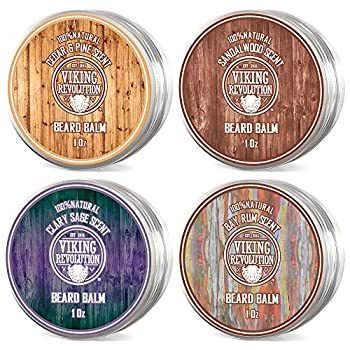 4 Beard Balm Variety Pack  1oz Each - Sandalwood Pine & Cedar Bay Rum Clary Sage- Styles Strengthens & Softens Beards & Mustaches - Leave in Conditioner Wax for Men