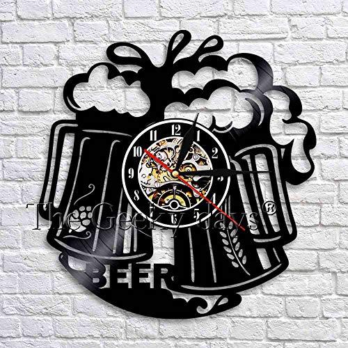 LTOOD 1 stuk Mok Schuim Bier Pub Wandklok Brouwerij Decoratieve Muur Horloge Proost Alcohol Vinyl Record Wandklok Gift Voor bier Lover