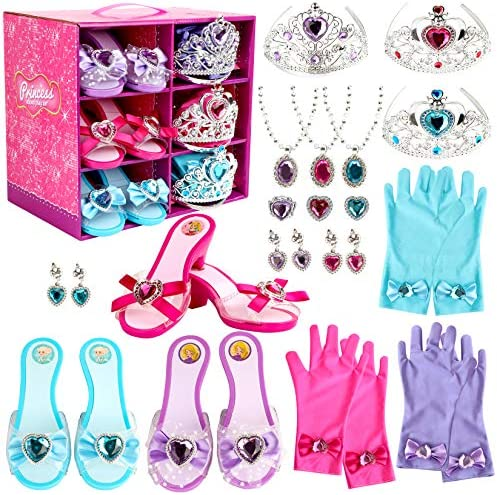 Girl Princess Dress Up Shoes Set Princess Role Play Collection Kit Pretend Jewelry Toys Accessories product image